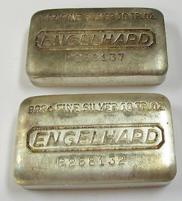 Lot of 2- Engelhard 10 oz .999+ Fine Silver Bars Loaf-Style Almost Consecutive