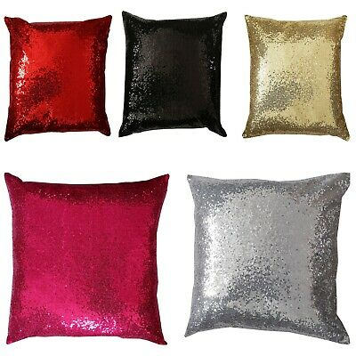 "Sequin Faux Silk Cushion Covers 18"" x 18"" - Satin Slub And Sequin Sparkle"
