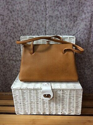 Vintage 60s Tan Leather Kelly Bag From Boots - Made In England - Retro Vtg