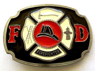 True Vintage Pewter Multi Enamel FIREFIGHTER FIREMAN DEPARTMENT Belt Buckle