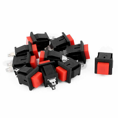 10pcs AC 250V 1A 2 Terminals NC SPST Momentary Square Push Button Switch Red