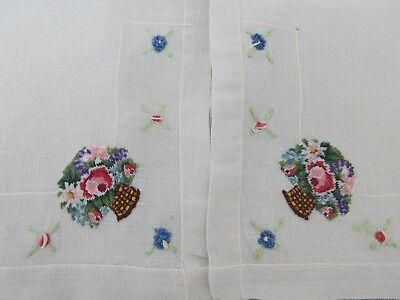 FLAX LINEN EMBROIDERY,petit point,CROSS STITCH DRESSER SCARF,TABLE RUNNER,ROSES