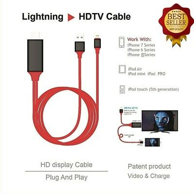 Para iPhone pantalla al TV Cable HDMI 1080P adaptador USB cargador convertidor