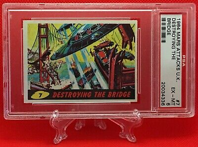 1964 Mars Attacks UK DESTROYING THE BRIDGE #7 EXCELLENT-MINT 6 - A&BC garno PSA
