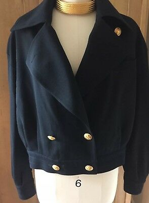 8d3724a1f Louis Feraud Vintage Wool Cropped Double Breasted Blazer Jacket NWOT Size 12