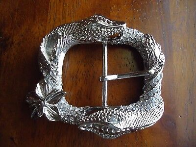 Belt Buckle Silver Toned Snake Ladies Bejeweled approx. 3.5 x 3 in (R)