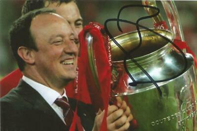 LIVERPOOL: RAFA BENITEZ SIGNED 6x4 CHAMPIONS LEAGUE TROPHY CELEBRATION PHOTO+COA