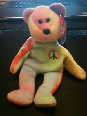 853e48f92bc 1996-TY-BEANIE-BABY PEACE-BEAR-4053-FAREHAM-HANTS-4TH GEN-AND-PVC ...