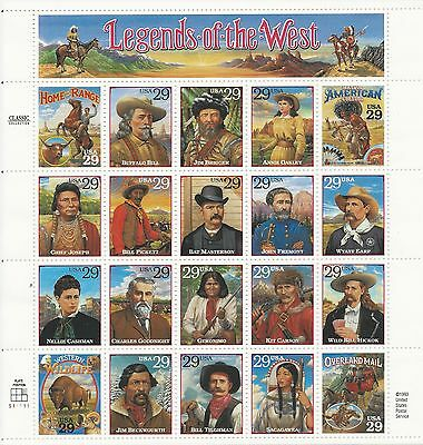 Scott # 2869 - 29 Cent - Legends of the West - Mint NH Sheet