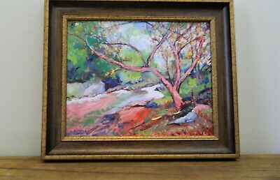 "Impressionism Oil Fine Art. ""The carmine stream"". Ducuron artist 16""x20"". Canvas"