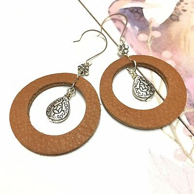 Handcrafted Genuine Double Sided Leather Boho Hoops Earrings  Made in USA