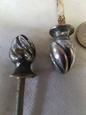2 FRENCH Antique Clock Finial FEET LAMP Furniture CHROME ON Brass OLD c1930