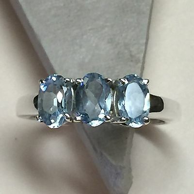 Genuine 2ct Swiss Blue Topaz 925 Solid Sterling Silver 3-Stone Ring sz 6.75