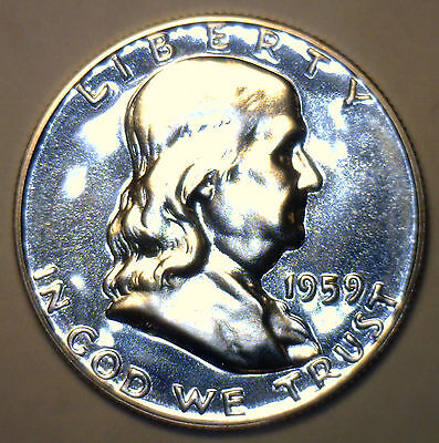 1959 Silver Franklin Proof Half Dollar Coin 50c Fifty Cents MADE IN AMERICA