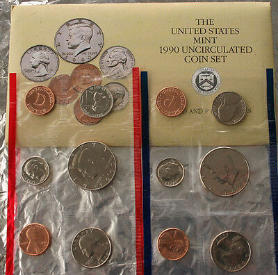 1990 P and D Annual United States Mint Uncirculated 10 Coin Set BU Complete