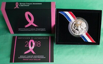2018 Proof Breast Cancer Awareness Half Dollar US Mint 50c Coin with Box and COA