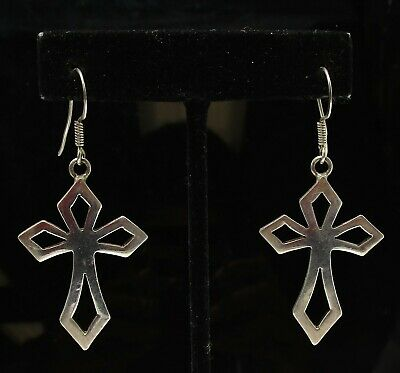 925 Mexico Sterling Silver Openwork Cross Dangle Hook Earrings TT8600