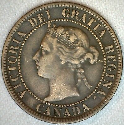 1893 Bronze Canadian Large Cent Coin One Cent Canada VF Very Fine 1c K313