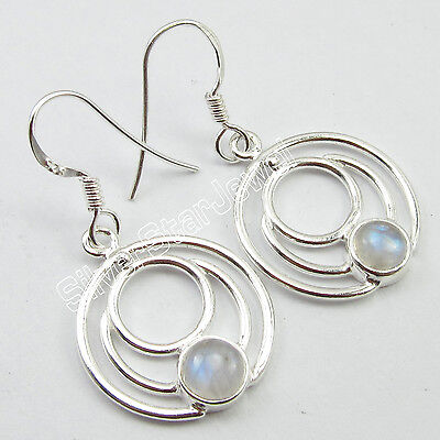 """925 Pure Silver 6x6 ROUND CABOCHON RAINBOW MOONSTONE ROUND WIRE Earrings 1.4"""""""