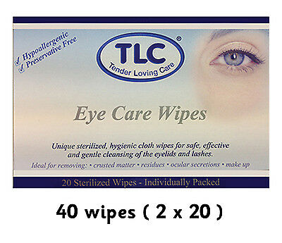 40 Tender Loving Care TLC Standard Adult Eye Care Wipes sterilized hygienic