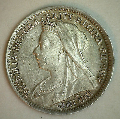 1901 Silver 3 Pence Great Britain UK English Coin XF