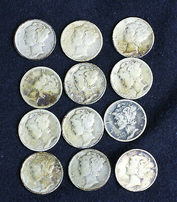1930's & 1940's Mercury Dimes Lot of 13 - 1 Not Pictured - 90% Silver US Coins