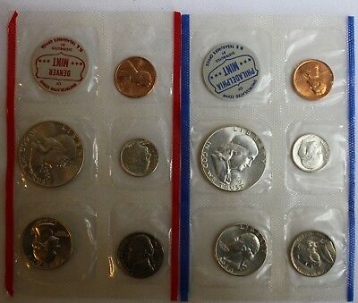 1960 SILVER US Mint Uncirculated P and D 10 Coin with Franklin 50c and Envelope