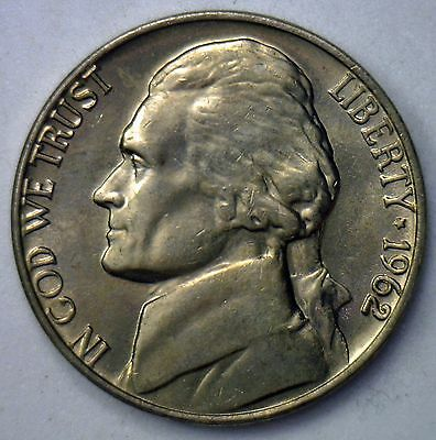 1962 Jefferson Nickel UNC Five Cent Choice BU Coin from Roll Made in America