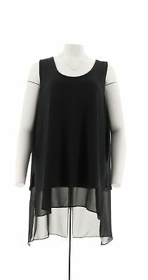 45779cbe4f932a Serena Williams Slvlss Double-Layer Ribbed Knit Tank Black Plus Sz 3X New   34.50
