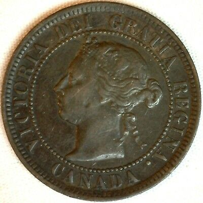 1884 Copper Canadian Large Cent One Cent Coin Very Fine #18