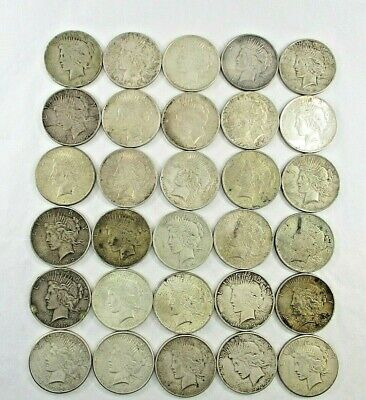 30 Peace Silver $1 Dollar Coins Date Range 1922 - 1926