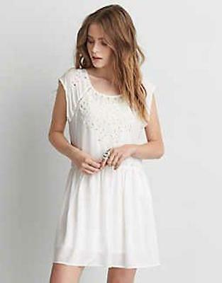 (NWOT AMERICAN EAGLE OUTFITTERS WHITE EYELET LACE DRESS sz M)