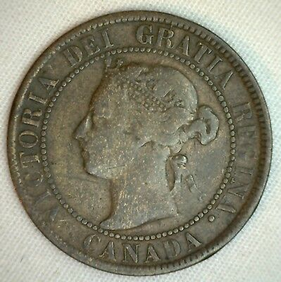 1895 Copper Canadian Large Cent One Cent Coin  Fine   #49