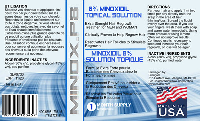 Kirkland Minoxidil 8%-Minox P8® - 12 Month Hair Regrowth Treatment *new Formula*
