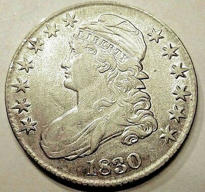 1830 Early Capped BUST SILVER HALF AU+++ Beautiful Details! NICE SILVER HALF WOW