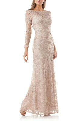 $540 Js Collections Women'S Beige Soutache Long Sleeve A-Line Gown Dress Size 14