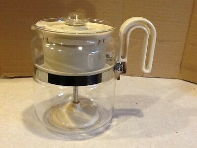 Vintage Gemco Coffee Pot Maker Glass Percolator Off White USA 4-8 cups