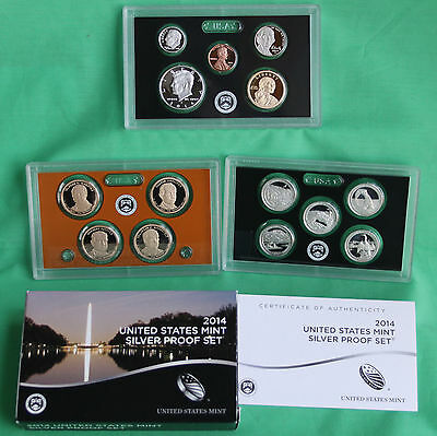 2014 United States Mint Annual 90% SILVER 14 Coin Proof Set Original Box and COA