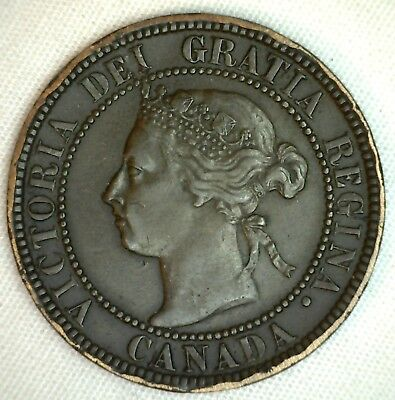 1893 Copper Canadian Large Cent One Cent Coin Exra Fine  #39