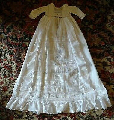 Antique Handmade Christening Gown White Lace and Embroidery