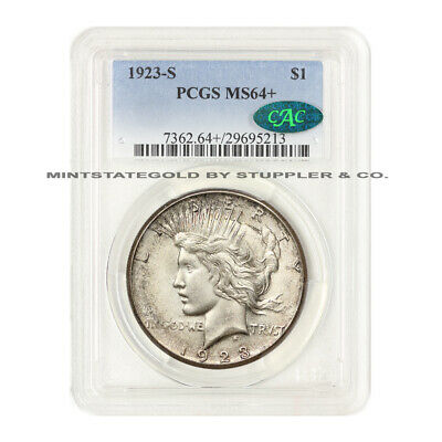 1923-S $1 Peace PCGS MS64+ Plus CAC Certified San Francisco Silver Dollar Coin