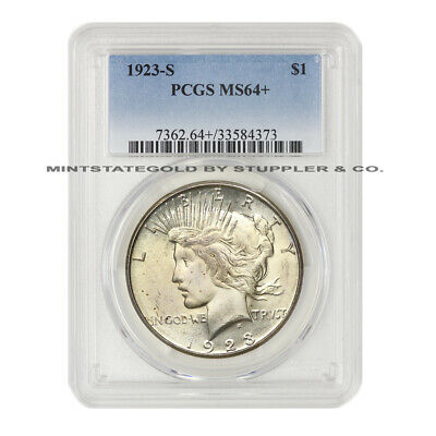 1923-S $1 Peace PCGS MS64+ Plus Graded San Francisco Mint Silver Dollar Coin