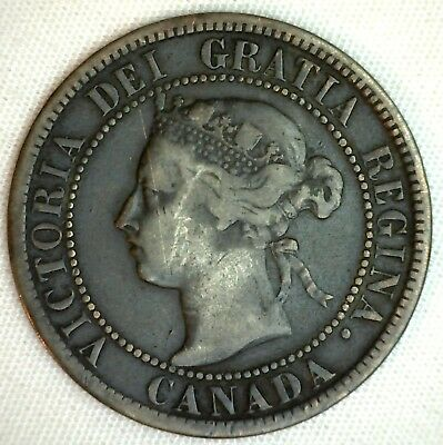 1896 Copper Canadian Large Cent One Cent Coin Fine 15  #5