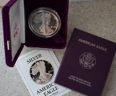 1988 AMERICAN SILVER EAGLE PROOF DOLLAR US Mint ASE Coin with Box and COA
