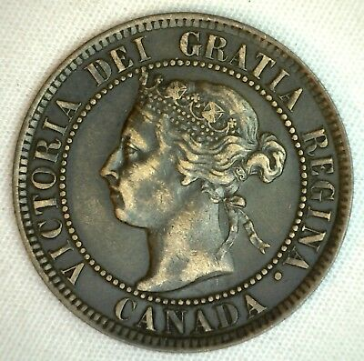 1893 Copper Canadian Large Cent One Cent Coin Very Fine 35  #38