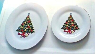 Sea Gull Fine China Christmas Tree One Dinner Plate Two Sandwich Plates