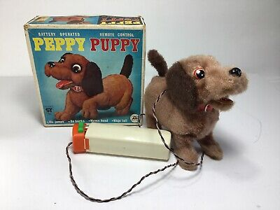 Just 70s Vintage Battery Operated Remote Control Peppy Puppy W/ Original Box Customers First 1970-1989 Electronic, Battery & Wind-up