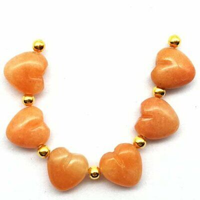 6Pcs/set Red Aventurine Heart Pendant Bead 13x12x7mm A62421