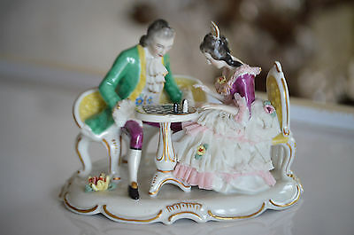 Dresden Porcelain Lace Figurine Statue Couple Playing Chess