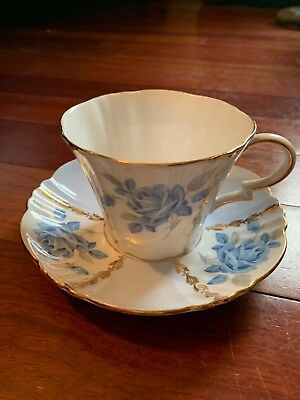Margaret Rose Royal Standard Fine Bone China England Blue Rose Cup & Saucer 1181